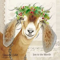 He requested a crown, but didn't stipulate what kind! Christmas Paintings On Canvas, Christmas Canvas, Christmas Art, Vintage Christmas, Christmas Projects, Christmas Stuff, Christmas Ideas, Goat Paintings, Sheep Paintings