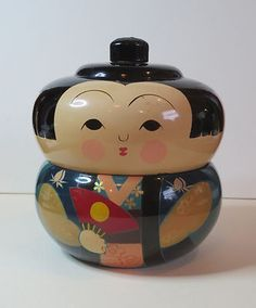 Japanese 1950 Vintage Wood Lidded Lacquer  Kokeshi  | eBay The fans are different