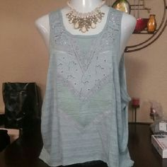 Free People Light Blue/Baby Green Lace Tank L BRAND SPANKING NEW, Free People Light Blue & Baby Green Laser Cut, Lace Slit Back- Super Light Weight Tank Top Tunic- Size Large, perfect for layering. *necklace pictured is NOT included. tags attached, Retail $138.00 Free People Tops Tunics