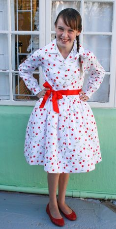 Girls' Classic 1950s Shirt Dress with Long Sleeves