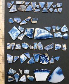 Blue pottery shards