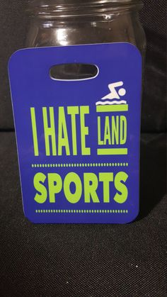 I hate land sports Swim Bag Tag, Sport Bag Tag, Swim Team Bag Tag, Swim Party favor by FlipTurnTags on Etsy