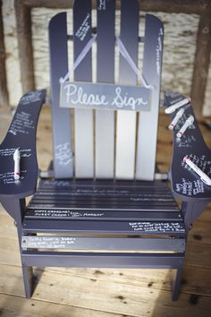 Adirondack chair guest book, rustic wedding, lake placid wedding
