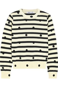 Comme des Garçons Comme des Garçons' sweater has been made in Japan from luxuriously soft cream wool. Its slim cut is flattering and ensures this piece layers easily beneath jackets and coats. We love the playful clash of stripes and spots. Get the look at NET-A-PORTER