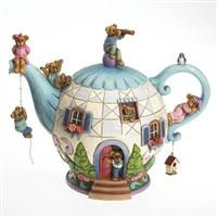 BOYDS BEARS THE POTSLEY FAMILY TEAPOT HOME IS WHERE THE TEA IS