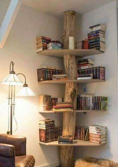 Trendy Ideas For Home Ideas Wood Bookshelves Home Projects, Home Crafts, Diy Home Decor, Home Room Design, Home Interior Design, Living Room Chairs, Living Room Decor, Wood Bookshelves, Tree Bookshelf