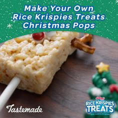 Make these jolly Rice Krispies Treats Christmas Pops with your kids. Apply frosting to make Rudolph and Santa faces with candies. Add pretzel antlers and holiday accents with sprinkles, candies and frosting. Enjoy them together then leave some out for San Christmas Pops, Christmas Snacks, Xmas Food, Christmas Rice Krispie Treats, Holiday Cookies, Holiday Treats, Holiday Recipes, Holiday Baking, Christmas Baking