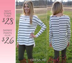 Classic Navy Stripe Tunic  facebook.com/dressmetrendyboutique