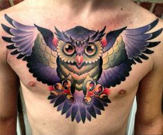Love the traditional feel to this owl tattoo