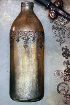 DIY Faux-Antique-Bottle-Thicketworks-for-The-Graphics-Fairy-011b. Have to try this for candle holders and vases!