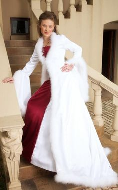 White-cape-Bridal Gowns For Winter Wedding