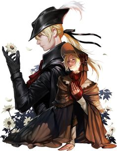 b5eb9d5a9ee bangs bloodborne bonnet cloak doll joints flower hat highres lady maria of  the astral clocktower long hair lsr multiple girls plain doll ponytail  spoilers ...