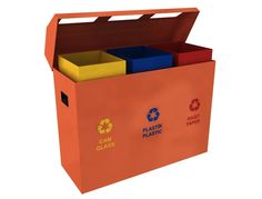 MAK 636B Designer trio recycling bin station set 135L  This model is the perfect choice for public spaces with an increased traffic like train stations, parks, commercial buildings, city streets etc.  Made from highly durable and weather resistant sheet metal. The interior bins are customized in waste separation specific colors, while the front body is labeled accordingly too.