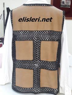 Yün ve Kumaş Birleşimi Yelek Modeli – El İşlerimiz Black White Pattern, White Patterns, Black And White, Crochet Jacket, Diy And Crafts, Applique, Crochet Patterns, Blanket, Knitting