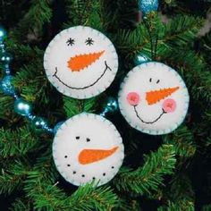 Felt  SNOWMAN SMILE ORNAMENTS Kit; Set of 3  Dimensions Christmas #Dimensions
