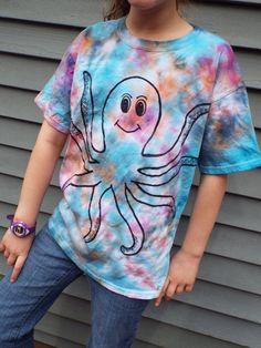 52b309ba4 Kids Octopus Shirt, Custom Tie Dye Octopus T-shirt, Kids Tie Dye Shirt,  Ocean Birthday, Sea Life, Beachy, Ocean Theme Octopi, kids tiedye