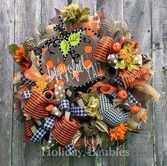 Happy Fall Y'all, Fall Wreath, Thanksgiving Wreath, Fall Decor, Thanksgiving…