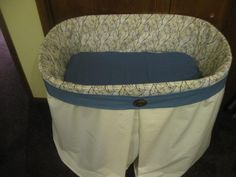 """A bassinet, bassinette, or cradle is a bed specifically for babies from birth to about four months, and small enough to provide a """"cocoon"""" that small babies find comforting. Bassinet Cover, Baby Bassinet, Baby Sewing Projects, One Bed, Small Baby, Childcare, Beautiful Babies, Baby Quilts"""