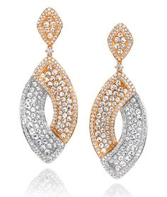 Cellini Jewelers Overlap Rose Cut Rose and White Gold Drop Earrings