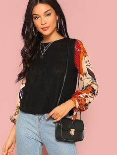 SHEIN offers Scarf Print Knotted Sleeve Mixed Media Top & more to fit your fashionable needs. Latest T Shirt, Laos People, Fashion News, Casual, Mixed Media, Sleeves, Fit, Women, Style