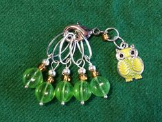 Your place to buy and sell all things handmade Needles Sizes, Stitch Markers, My Etsy Shop, Owl, Drop Earrings, Green, Crafts, Jewelry, Manualidades