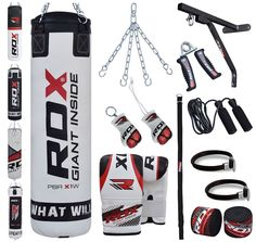 RDX 17 Piece Boxing Set 4FT 5FT Filled Heavy Punch Bag Gloves Bracket Chains MMA Punching Bags Training | NewMarts Sports