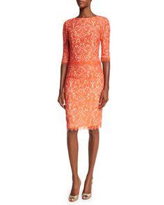 Elbow-Sleeve Lace Sheath Dress, Coral by Carolina Herrera at Neiman Marcus.