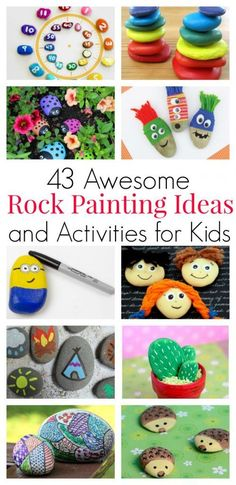 43 Awesome Rock Painting Ideas and Activities for Kids Rock painting inspiration for kids of all ages. Story stones, counting math games, garden markers and funny faces on rocks - perfect for random acts of kindness, my city rocks project. Craft Activities For Kids, Projects For Kids, Kids Crafts, Easy Crafts, Craft Projects, Craft Ideas, Funny Crafts For Kids, Painting Activities, Rock Painting Ideas Easy