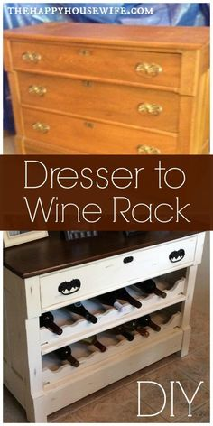 DIY Project: Transform an old/ugly/outdated Dresser into a beautiful Wine Rack | The Happy Housewife