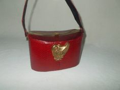 Super rare really cute 30's red snakes skin box bag with lady by VintageHandbagDreams on Etsy
