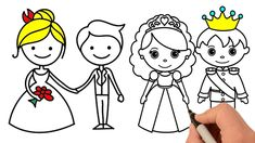 Coloring Kids, How to Draw Colors Bride and Groom, Đồ Chơi Tô Màu Cô Dâu...