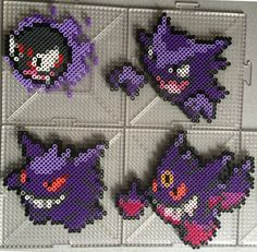 Ghastly Family - Pokemon perler beads by TehMorrison Pokemon Gengar, Pixel Pokemon, Pyssla Pokemon, Hama Beads Pokemon, Diy Perler Beads, Perler Bead Art, Pearler Beads, Fuse Beads, Melty Bead Patterns
