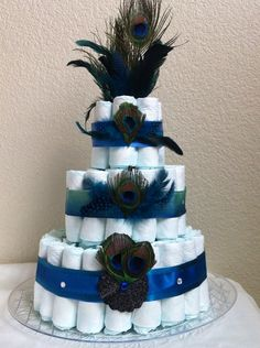 Peacock diaper cake by Tulippetalproduction on Etsy, $45.00