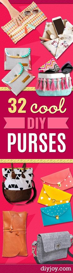 DIY Purses and Handbags - Homemade Projects to Decorate and Make Purses - Add Paint, Glitter, Buttons and Bling To Your Hand Bags and Purse With These Easy Step by Step Tutorials - Boho, Modern, and Cool Fashion Ideas for Women and Teens  http://diyjoy.com/diy-purses