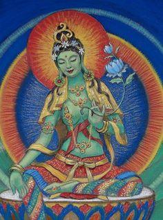 Pastel painting of Goddess Green Tara by Sue Halstenberg. This artwork was created for Dr. Green Tara, Tara Verde, Tara Goddess, Tibetan Art, Poster Prints, Art Prints, Buddhist Art, Thing 1, Figure Painting