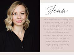 Jenn B. Samantha Ravndahl, Makeup Services, Eye For Detail, Professional Makeup Artist, Call Her, Ever After, Bridal Makeup, Celebs, Skin Care