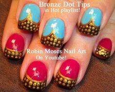 """Robin Moses Nail Art: """"nail art"""" """"dot nails"""" """"bronze tips"""" """"stud dot nai..."""
