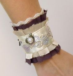 Charmed Steampunk Ruffle Cuff with Charms made using fabric and ribbon lace remnants ~ sew easy ;-)