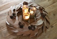 This DIY fall wreath is a great project to tackle with kids and if you're like us, helps to recycle those paper grocery bags that might have been stacking up. Make Your Own Wreath, How To Make Wreaths, Diy Fall Wreath, Fall Wreaths, Paper Grocery Bags, Paper Bag Crafts, Ways To Recycle, Reuse, Diy Candles