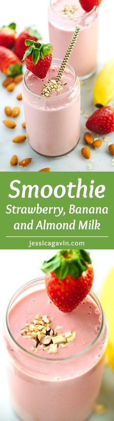 Strawberry Banana Smoothie with Almond Milk - Don't skip breakfast! With fruit, oats, yogurt, and almonds, this on-the-go healthy smoothie recipe will keep you energized when you need it.   jessicagavin.com