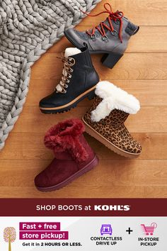 Keep your toes nice and toasty in cute boots you can wear all season long. Go for something stylish yet functional, like a pair of lace-up boots that are warm and waterproof. Or, keep things cozy in faux fur boots that come in great colors and prints. Get set for cold weather with fast + free store pickup! Shop winter boots, waterproof shoes and more at Kohl's and Kohls.com. #boots #wintershoes