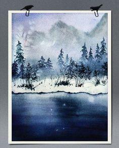 WEBSTA @ elita_kim - #watercolor#winterriver #winterscape #landscape #aquarelle #painting эксперименты с Saunders Waterford. Сначала на этом листе было цветущее дерево вишни, затем абстрактные цветы и, в конце концов, этот пейзаж. Душ с губкой  выдерживает, но краска вымывается не так чисто как Moulin du Roy.