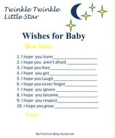 Twinkle Twinkle Little Star Baby Shower Wishes for Baby. Click for more Twinkle Twinkle baby shower ideas and free printables and decorations. #twinkletwinklelittlestarbabyshower #freeprintablebabyshowergames