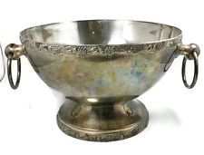 Antique Large Silver Plated Metal Punch / Fruit Bowl with ring metal handles