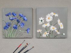 Daisies and Cornflowers field flowers bouquet of wildflowers diptych two oil paintings kit collage wall decor art flower painting Small Canvas Paintings, Small Canvas Art, Mini Canvas Art, Small Paintings, Paintings Of Flowers, Art Du Collage, Wall Collage Decor, Painting Collage, Wall Art