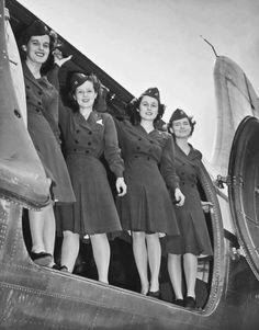 Navy flight nurses in their grey off-duty dresses ~