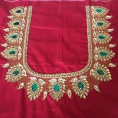 red blouse aari attractive design using with normal needle Aari Work Blouse, Hand Work Blouse Design, Simple Blouse Designs, Blouse Back Neck Designs, Blouse Designs Silk, Blouse Neck, Saree Blouse, Embroidery Works, Hand Embroidery Designs