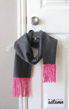 Easy Fleece and Fringe No Sew Scarf