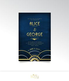 The ALICE . Invitation Set . Art Deco Wedding Gold Silver Great Gatsby 1920s Speakeasy Parlor Fitzgerald Navy Night Sky Industrial Modern by BuffyWeddings on Etsy