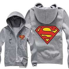 BFJ Superman Shield Classic Logo Mens Zip Up Hoodie Cosplay Costume Hoody ** Check this awesome product by going to the link at the image.